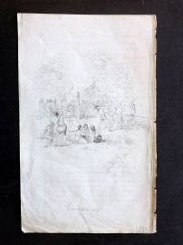 Bancroft United States 1844 Etching. Death of Vincennes. American Indians